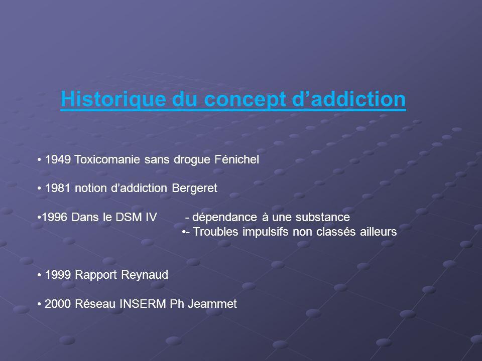 Historique du concept daddiction 1949 Toxicomanie sans drogue Fénichel 1981 notion daddiction Bergeret 1996 Dans le DSM IV - dépendance à une substanc