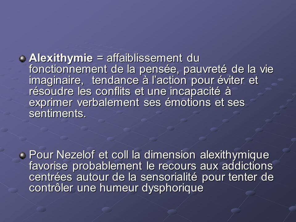 Alexithymie = affaiblissement du fonctionnement de la pensée, pauvreté de la vie imaginaire, tendance à laction pour éviter et résoudre les conflits et une incapacité à exprimer verbalement ses émotions et ses sentiments.
