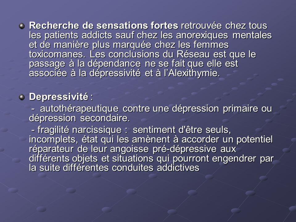 Recherche de sensations fortes retrouvée chez tous les patients addicts sauf chez les anorexiques mentales et de manière plus marquée chez les femmes toxicomanes.