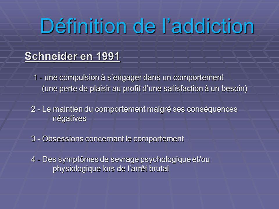Définition de laddiction Schneider en 1991 1 - une compulsion à sengager dans un comportement 1 - une compulsion à sengager dans un comportement (une