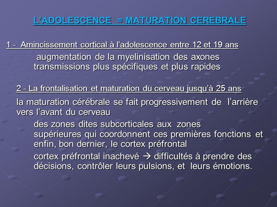 LADOLESCENCE = MATURATION CEREBRALE 1 - Amincissement cortical à ladolescence entre 12 et 19 ans augmentation de la myelinisation des axones transmiss
