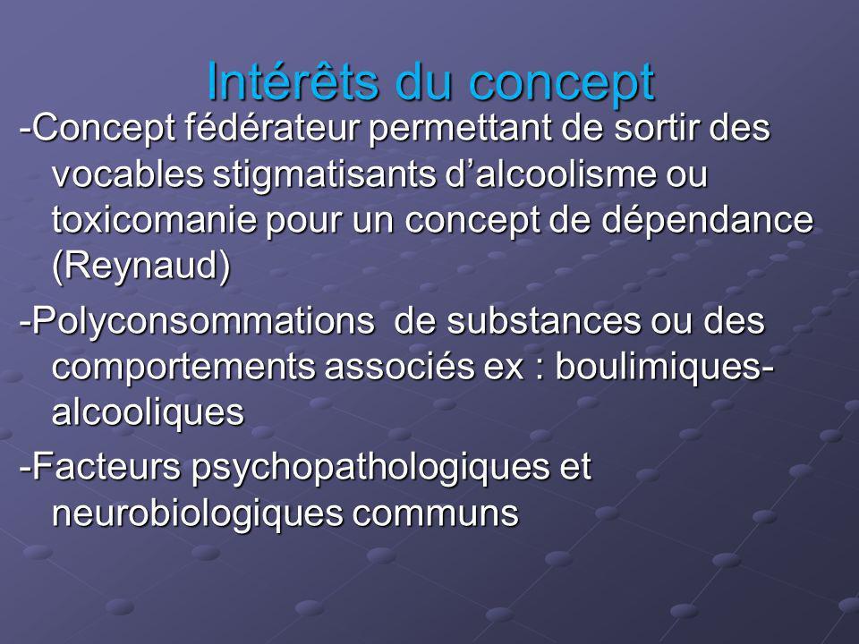 Intérêts du concept -Concept fédérateur permettant de sortir des vocables stigmatisants dalcoolisme ou toxicomanie pour un concept de dépendance (Reyn