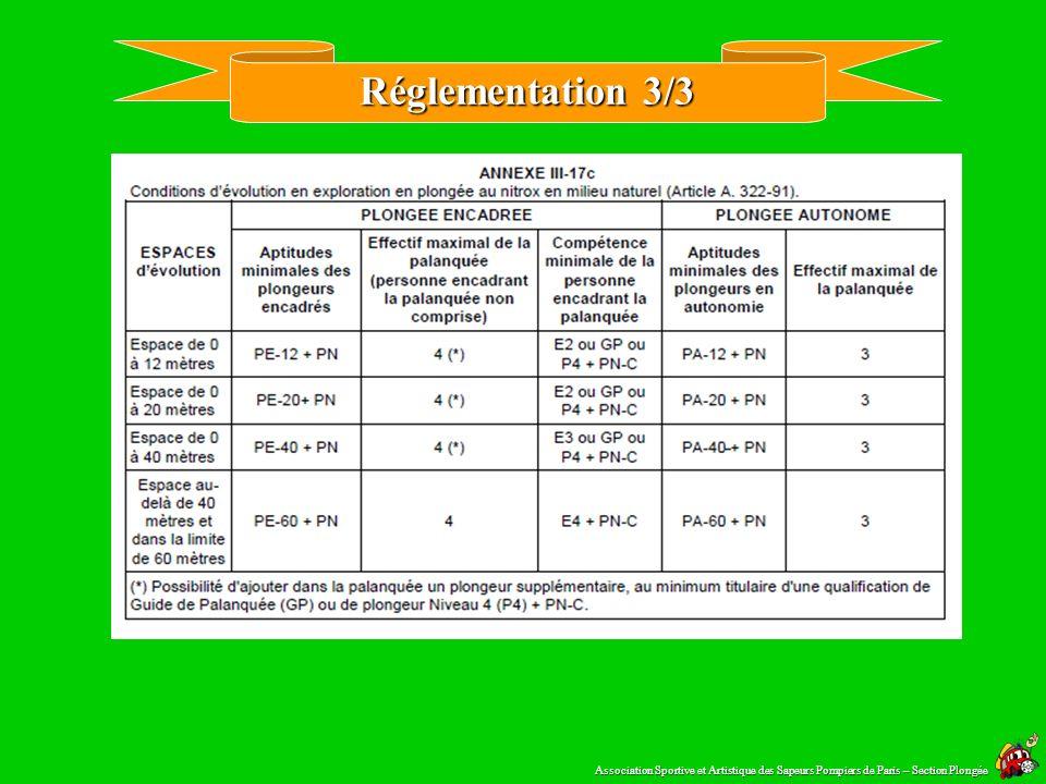 Réglementation 2/3 Paragraphe 4 Dispositions particulières au nitrox Art. A. 322-95. – La pratique de la plongée aux mélanges nitrox est soumise à la
