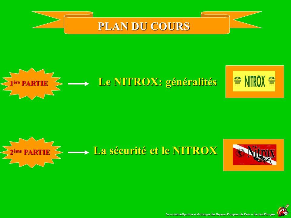 PLAN DU COURS Le NITROX: généralités 1 ère PARTIE La sécurité et le NITROX 2 ème PARTIE Association Sportive et Artistique des Sapeurs Pompiers de Paris – Section Plongée
