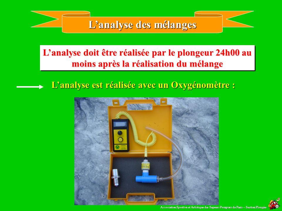 Le registre de remplissage EANx Association Sportive et Artistique des Sapeurs Pompiers de Paris – Section Plongée