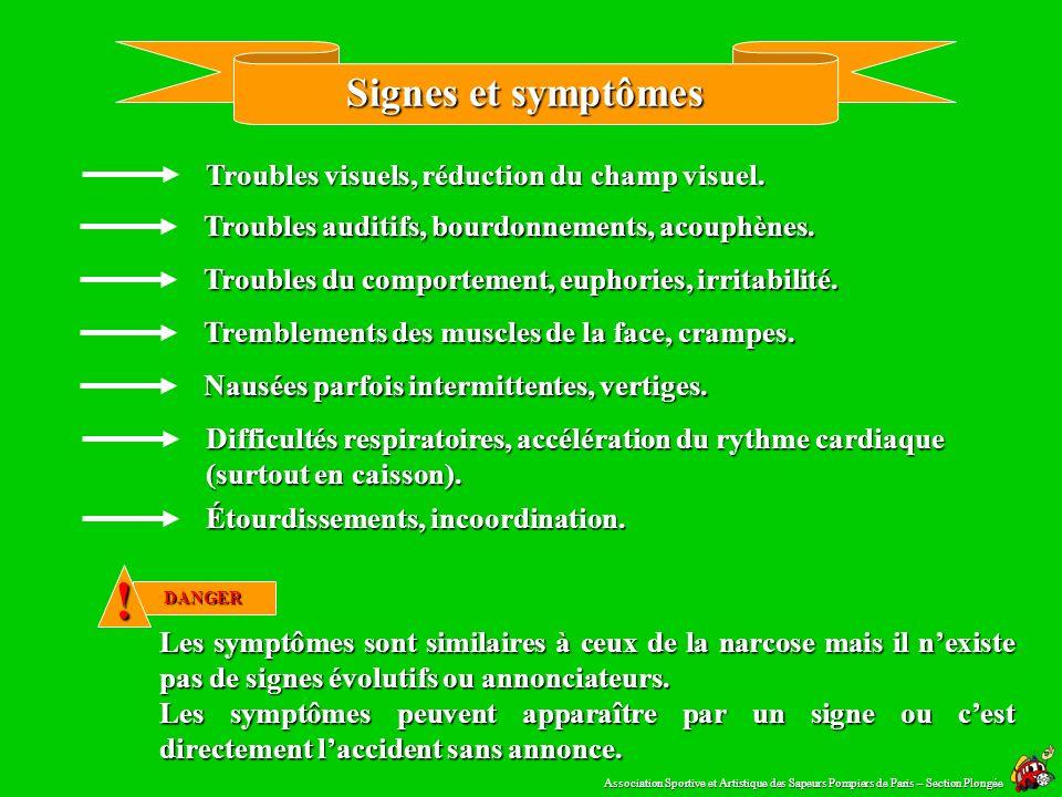 Toxicité S. N. C. La toxicité au système nerveux central peut survenir lors dune longue exposition à une Pp O ² > à 1,4 b Pour cette raison, lexpositi