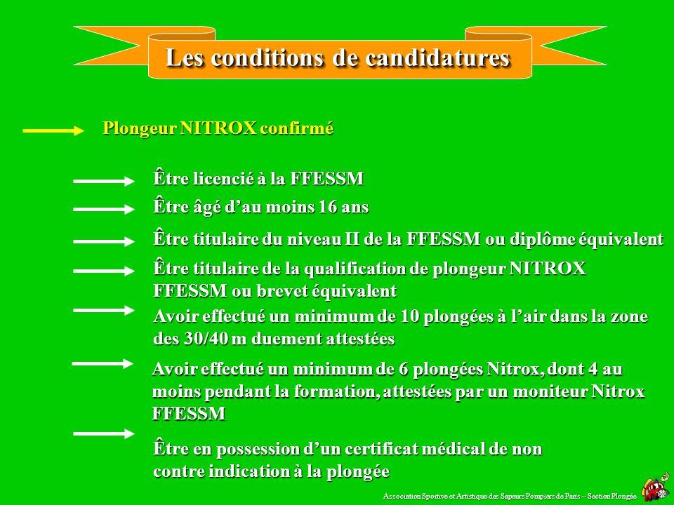 Létiquetage des blocs Par le plongeur NITROX Par le fabriquant du mélange Deux étiquettes doivent être apposées sur le bloc ( Titre II article 7 – Titre III article 11 ) : Association Sportive et Artistique des Sapeurs Pompiers de Paris – Section Plongée