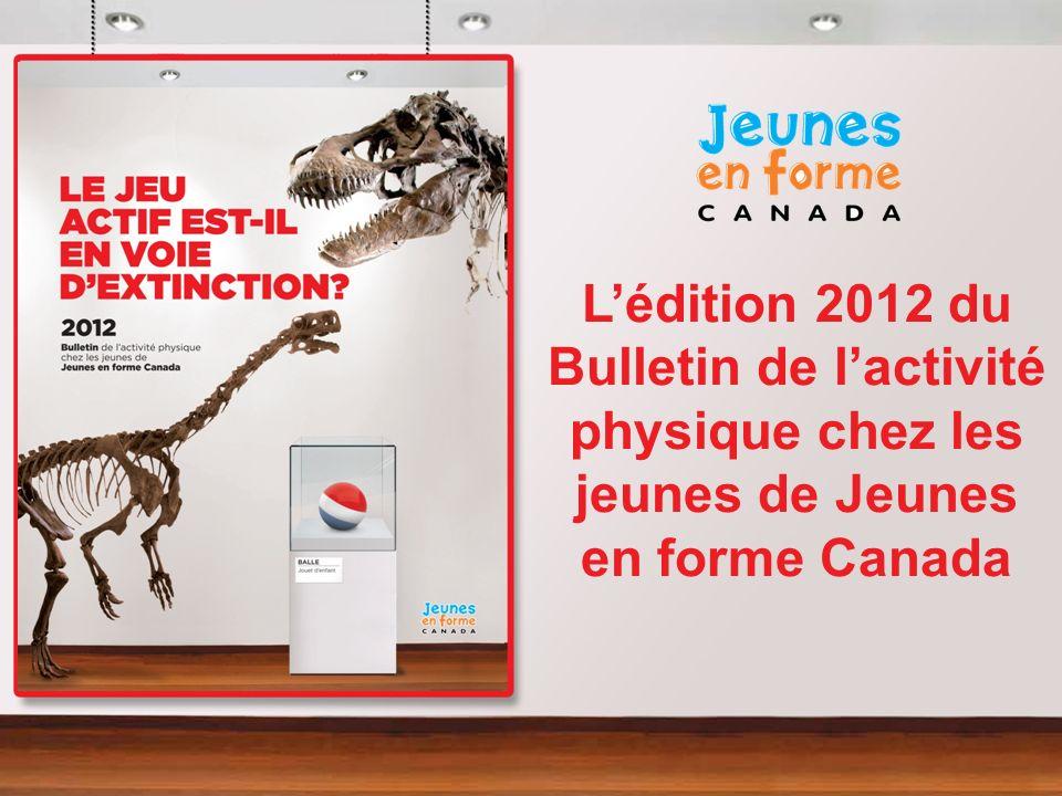 Résumé de la présentation Jeunes en forme Canada Historique, direction stratégique, partenaires stratégiques Bulletin 2011 Le jeu actif est-il en voie dextinction.