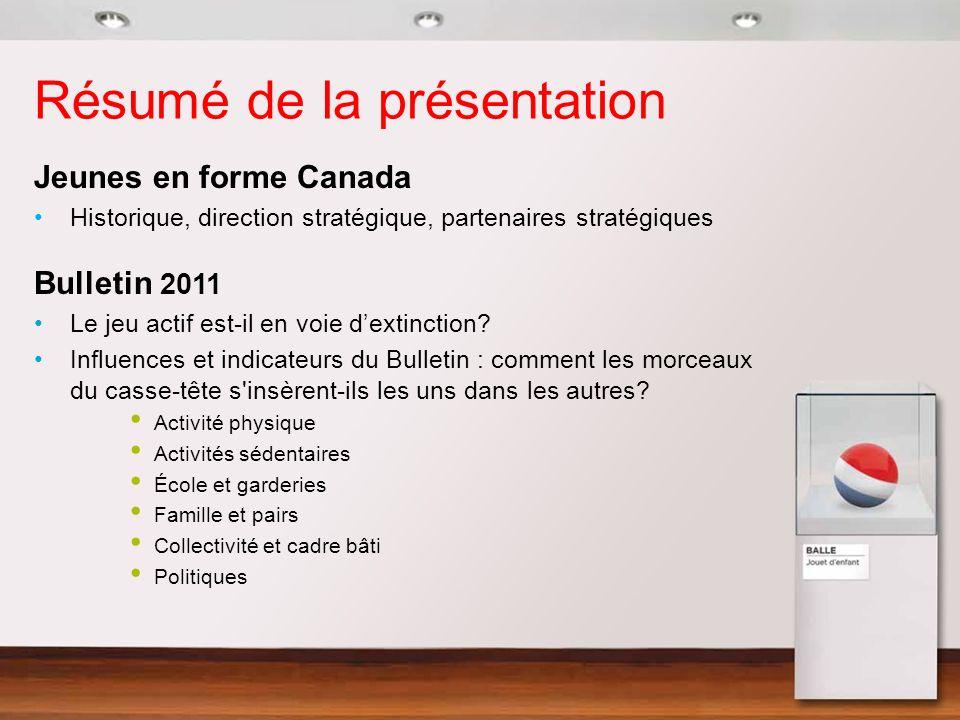 Résumé de la présentation Jeunes en forme Canada Historique, direction stratégique, partenaires stratégiques Bulletin 2011 Le jeu actif est-il en voie