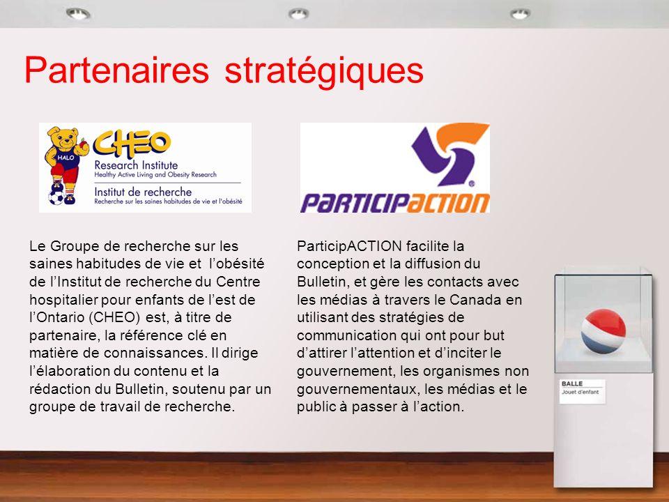Recommandations à légard des politiques Travailler avec les organisations du secteur de lactivité physique au Canada pour compléter, endosser, mettre en place et financer une stratégie nationale complète dactivité physique.