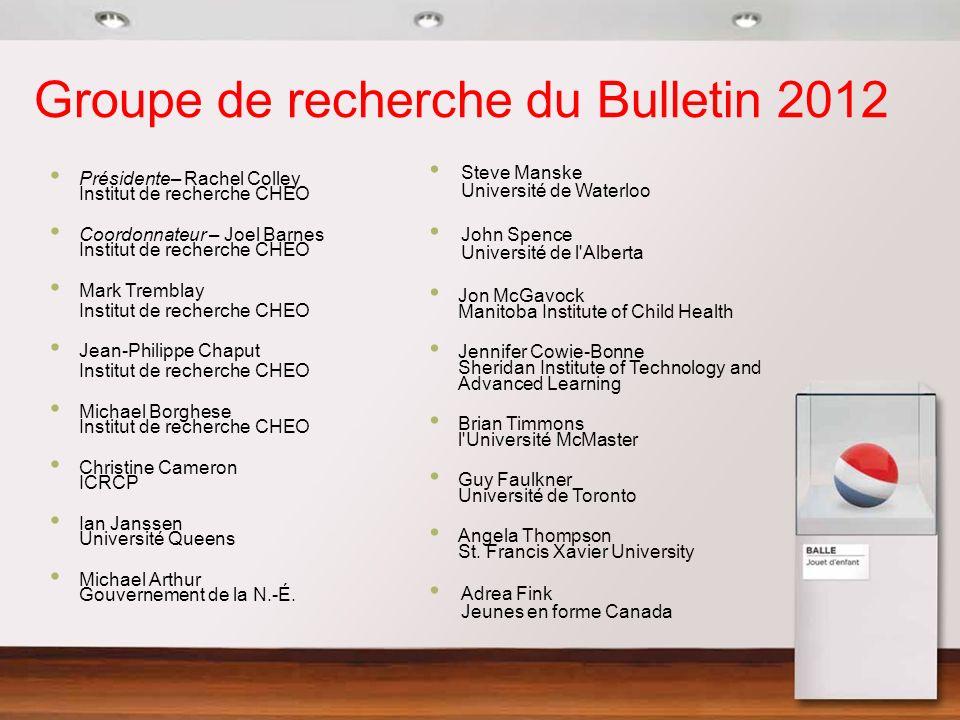 Groupe de recherche du Bulletin 2012 Présidente– Rachel Colley Institut de recherche CHEO Coordonnateur – Joel Barnes Institut de recherche CHEO Mark