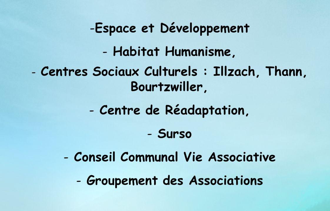 -Espace et Développement - Habitat Humanisme, - Centres Sociaux Culturels : Illzach, Thann, Bourtzwiller, - Centre de Réadaptation, - Surso - Conseil