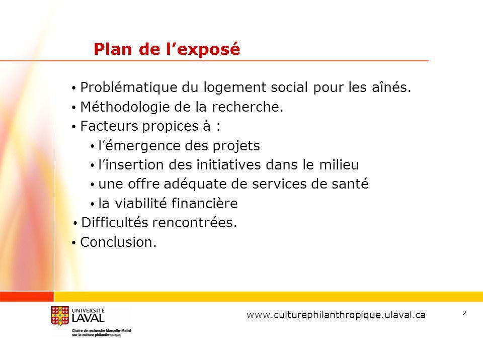 www.ulaval.ca 2 Plan de lexposé Problématique du logement social pour les aînés.