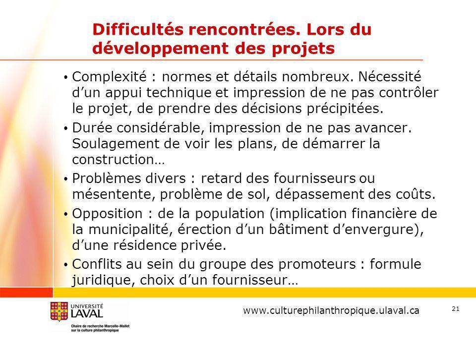 www.ulaval.ca 21 Difficultés rencontrées.