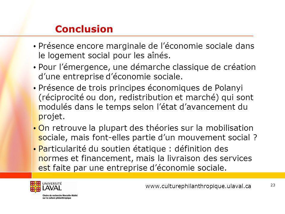 www.ulaval.ca 23 Conclusion Présence encore marginale de léconomie sociale dans le logement social pour les aînés.