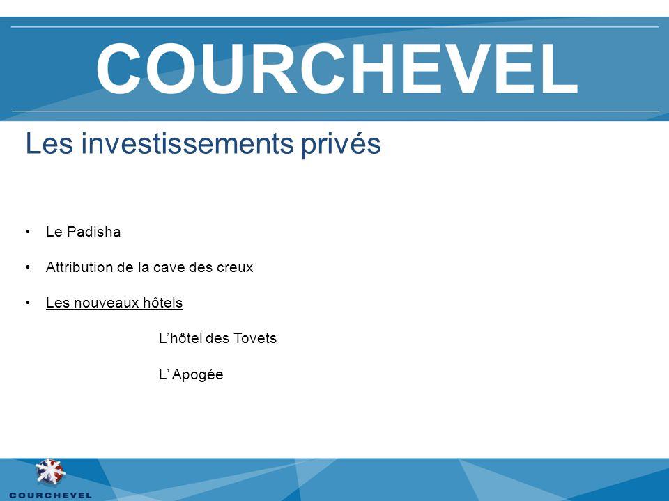 Les investissements privés Le Padisha Attribution de la cave des creux Les nouveaux hôtels Lhôtel des Tovets L Apogée