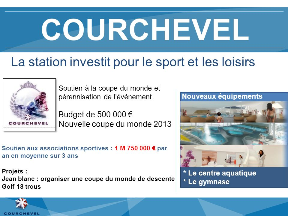 La station investit pour le sport et les loisirs Soutien aux associations sportives : 1 M 750 000 par an en moyenne sur 3 ans Projets : Jean blanc : o