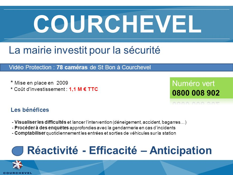 La mairie investit pour la sécurité * Mise en place en 2009 * Coût d'investissement : 1,1 M TTC Les bénéfices - Visualiser les difficultés et lancer l