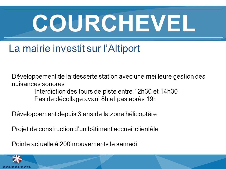 La mairie investit sur lAltiport Développement de la desserte station avec une meilleure gestion des nuisances sonores Interdiction des tours de piste entre 12h30 et 14h30 Pas de décollage avant 8h et pas après 19h.