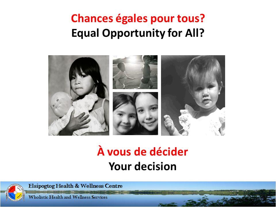 Chances égales pour tous Equal Opportunity for All À vous de décider Your decision