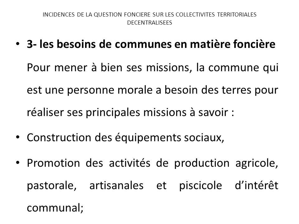 3- les besoins de communes en matière foncière Pour mener à bien ses missions, la commune qui est une personne morale a besoin des terres pour réalise