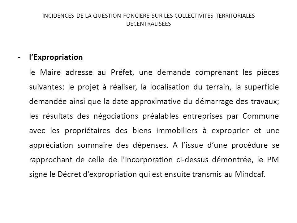 -lExpropriation le Maire adresse au Préfet, une demande comprenant les pièces suivantes: le projet à réaliser, la localisation du terrain, la superfic