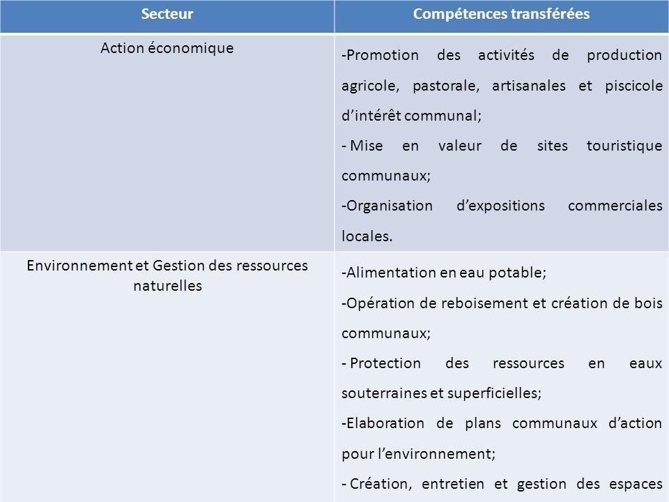 SecteurCompétences transférées Action économique -Promotion des activités de production agricole, pastorale, artisanales et piscicole dintérêt communa