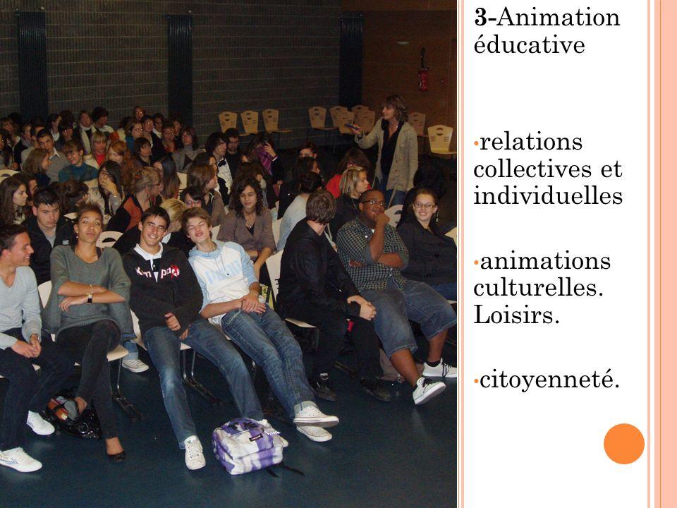 3- Animation éducative relations collectives et individuelles animations culturelles. Loisirs. citoyenneté.