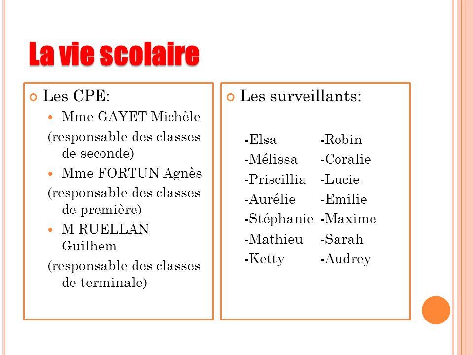 La vie scolaire Les CPE: Mme GAYET Michèle (responsable des classes de seconde) Mme FORTUN Agnès (responsable des classes de première) M RUELLAN Guilh