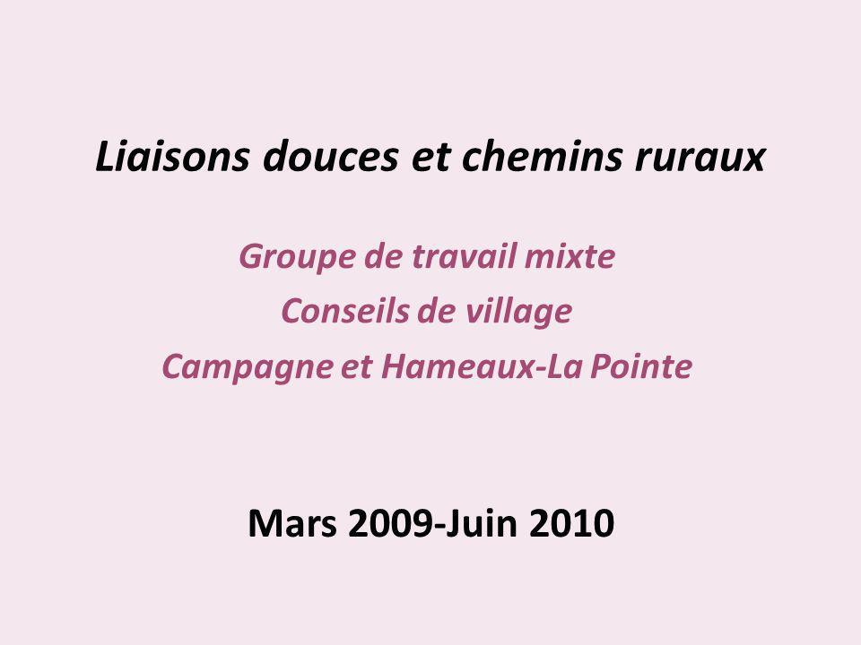 Liaisons douces et chemins ruraux Groupe de travail mixte Conseils de village Campagne et Hameaux-La Pointe Mars 2009-Juin 2010