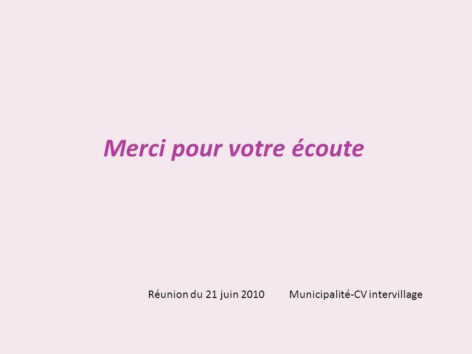 Merci pour votre écoute Réunion du 21 juin 2010 Municipalité-CV intervillage