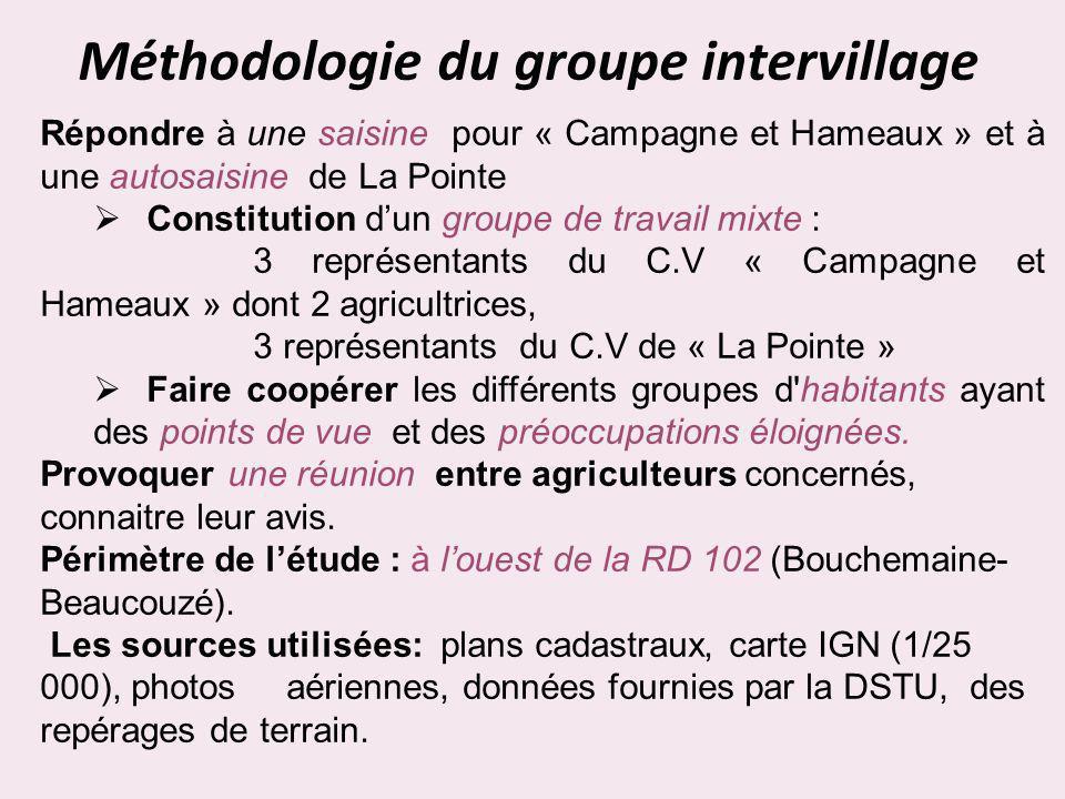 Méthodologie du groupe intervillage Répondre à une saisine pour « Campagne et Hameaux » et à une autosaisine de La Pointe Constitution dun groupe de t
