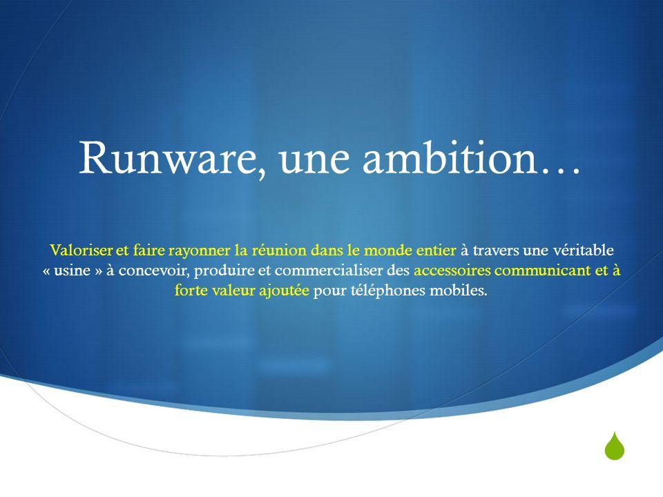 Runware, une ambition… Valoriser et faire rayonner la réunion dans le monde entier à travers une véritable « usine » à concevoir, produire et commercialiser des accessoires communicant et à forte valeur ajoutée pour téléphones mobiles.