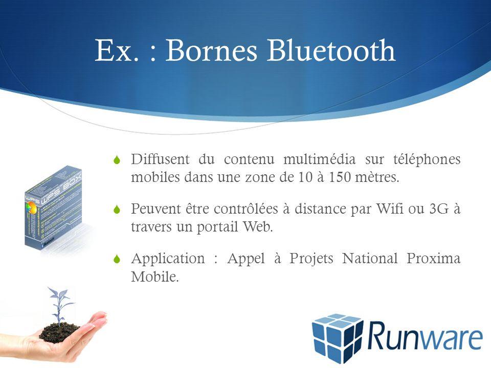 Ex. : Bornes Bluetooth Diffusent du contenu multimédia sur téléphones mobiles dans une zone de 10 à 150 mètres. Peuvent être contrôlées à distance par
