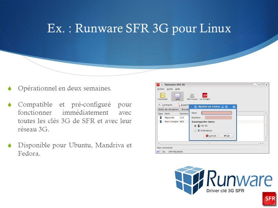 Ex. : Runware SFR 3G pour Linux Opérationnel en deux semaines.