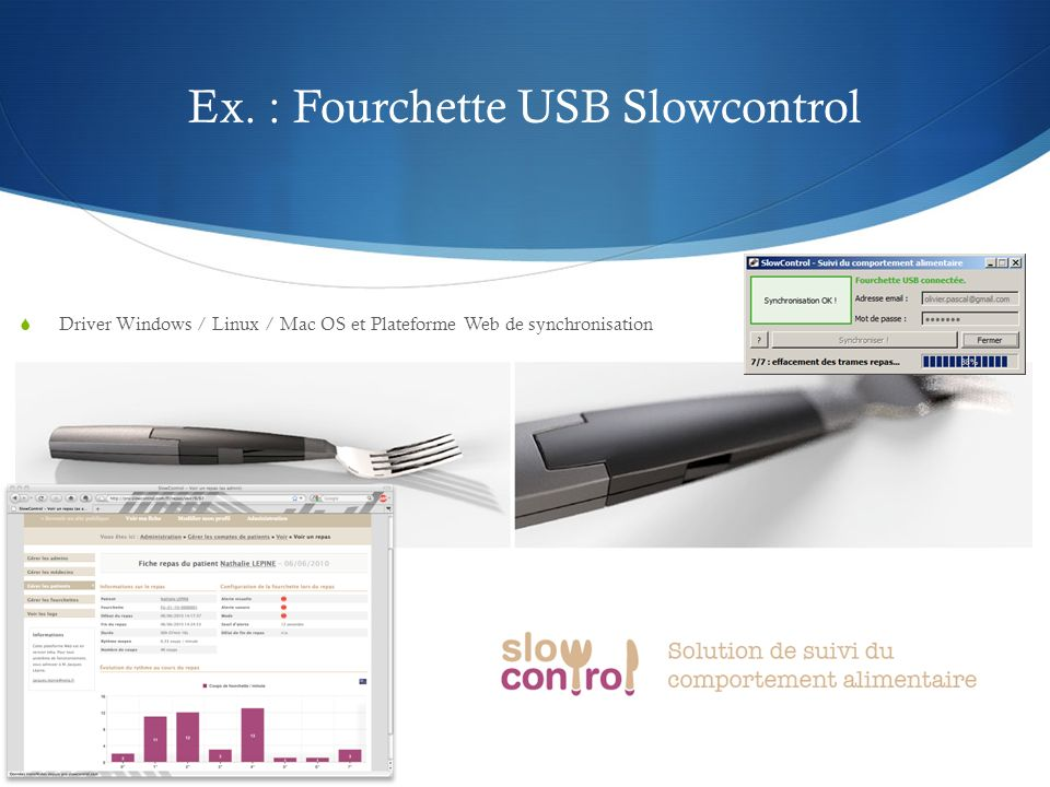 Ex. : Fourchette USB Slowcontrol Driver Windows / Linux / Mac OS et Plateforme Web de synchronisation