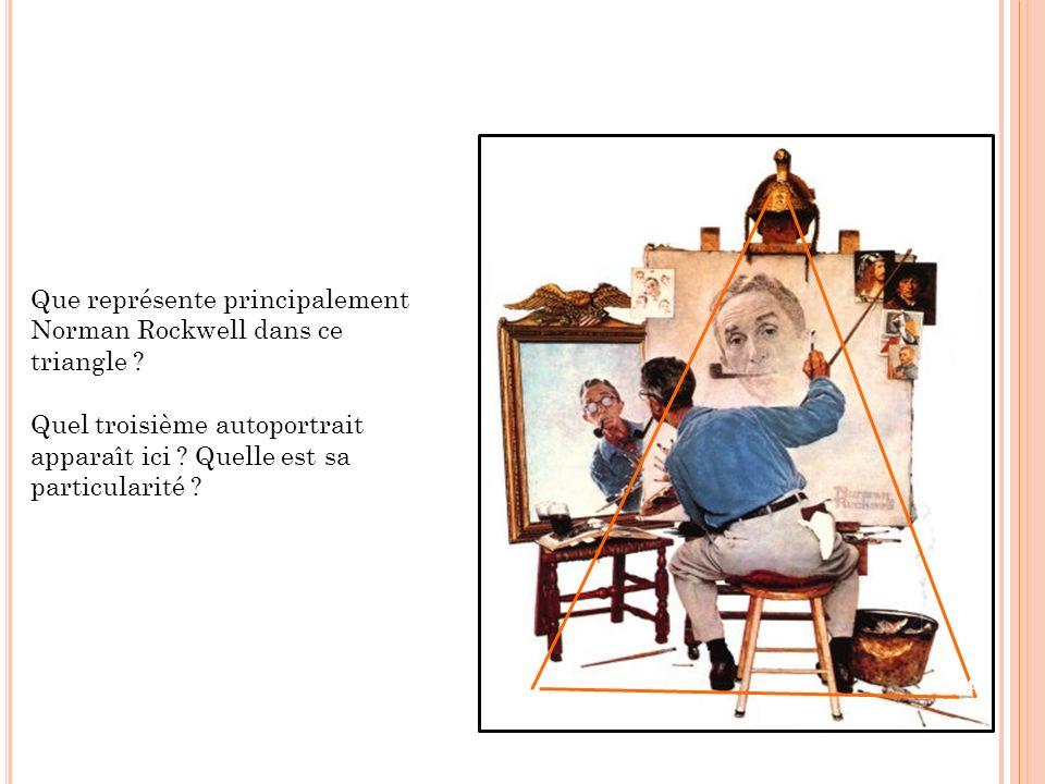 Que représente principalement Norman Rockwell dans ce triangle ? Quel troisième autoportrait apparaît ici ? Quelle est sa particularité ? 54