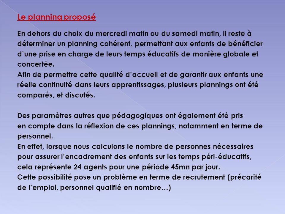 Le planning proposé En dehors du choix du mercredi matin ou du samedi matin, il reste à déterminer un planning cohérent, permettant aux enfants de bén