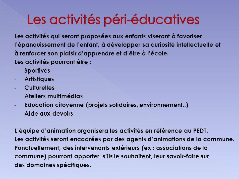 Les activités qui seront proposées aux enfants viseront à favoriser lépanouissement de lenfant, à développer sa curiosité intellectuelle et à renforce