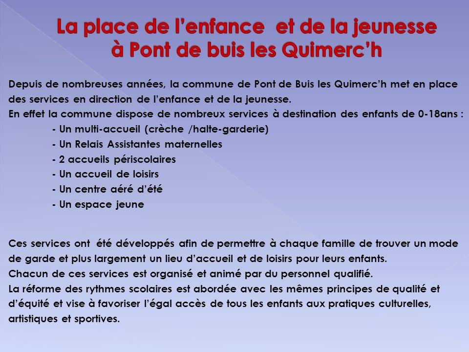 Depuis de nombreuses années, la commune de Pont de Buis les Quimerch met en place des services en direction de lenfance et de la jeunesse. En effet la