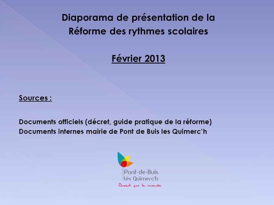 Diaporama de présentation de la Réforme des rythmes scolaires Février 2013 Sources : Documents officiels (décret, guide pratique de la réforme) Docume