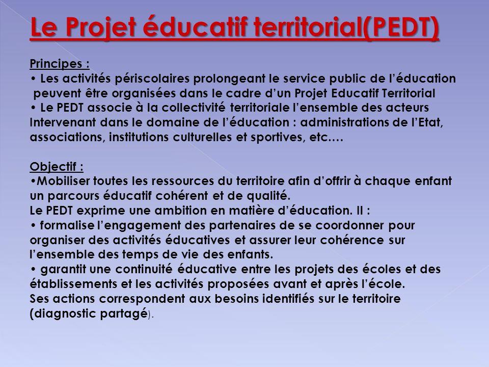 Le Projet éducatif territorial(PEDT) Principes : Les activités périscolaires prolongeant le service public de léducation peuvent être organisées dans