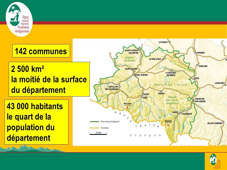 142 communes 43 000 habitants le quart de la population du département 2 500 km² la moitié de la surface du département