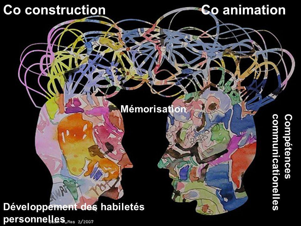 Co construction Mémorisation Co animation Développement des habiletés personnelles Compétences communicationelles
