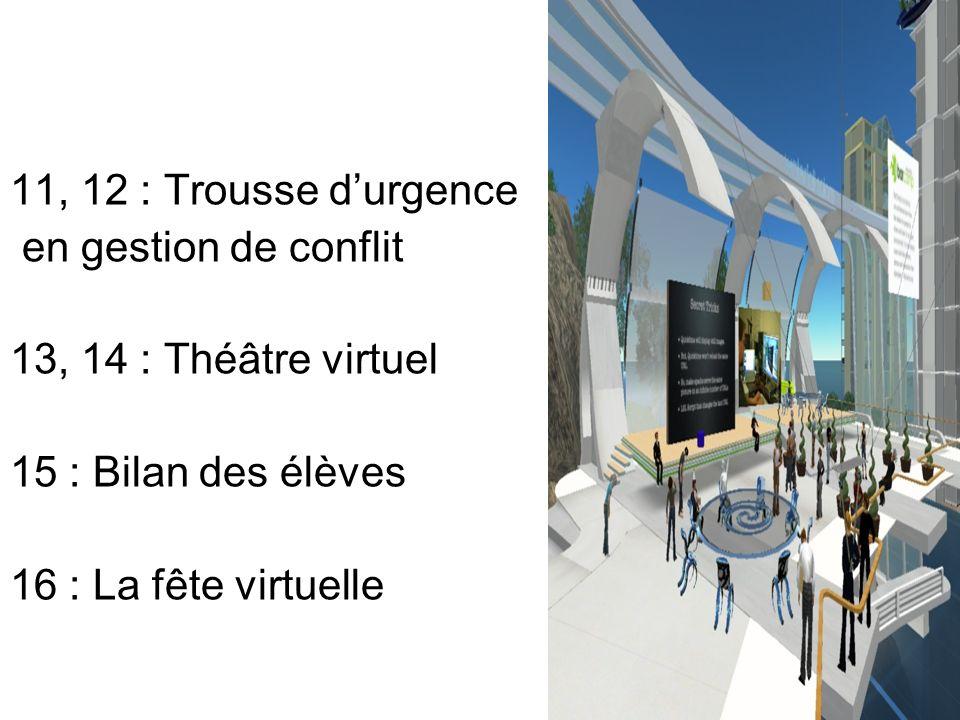 11, 12 : Trousse durgence en gestion de conflit 13, 14 : Théâtre virtuel 15 : Bilan des élèves 16 : La fête virtuelle
