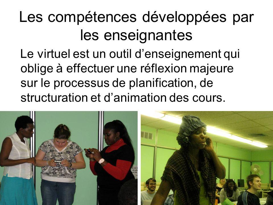 Les compétences développées par les enseignantes Le virtuel est un outil denseignement qui oblige à effectuer une réflexion majeure sur le processus d