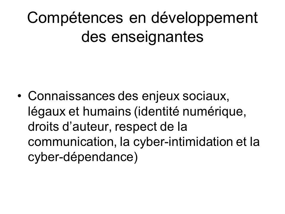 Compétences en développement des enseignantes Connaissances des enjeux sociaux, légaux et humains (identité numérique, droits dauteur, respect de la communication, la cyber-intimidation et la cyber-dépendance)