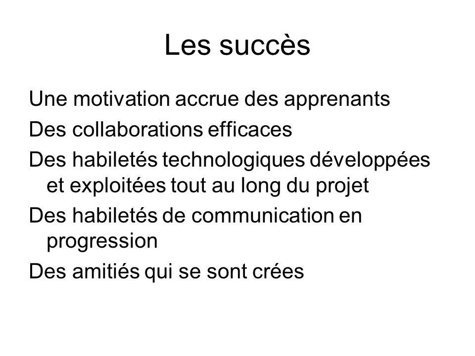 Les succès Une motivation accrue des apprenants Des collaborations efficaces Des habiletés technologiques développées et exploitées tout au long du projet Des habiletés de communication en progression Des amitiés qui se sont crées