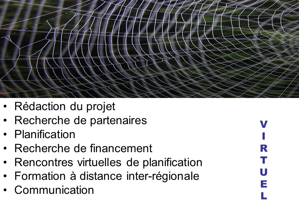 Rédaction du projet Recherche de partenaires Planification Recherche de financement Rencontres virtuelles de planification Formation à distance inter-régionale Communication VIRTUELVIRTUEL