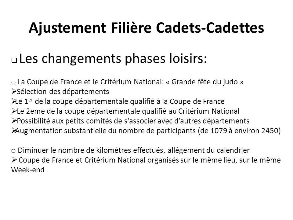 Les changements phases loisirs: o La Coupe de France et le Critérium National: « Grande fête du judo » Sélection des départements Le 1 er de la coupe
